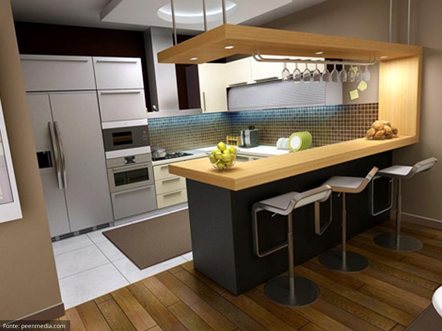 Decoração de cozinha pequena e integrada