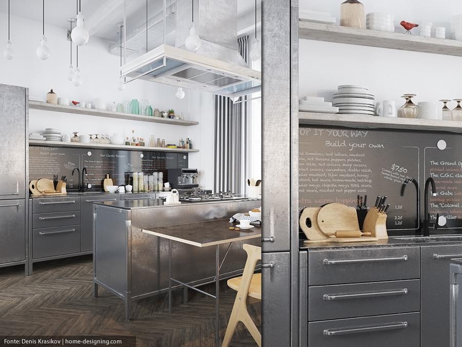 Decoração de cozinha industrial cinza