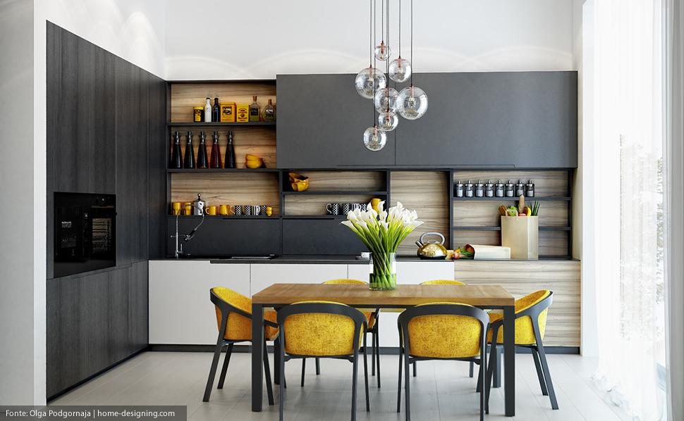Decoração de cozinha industrial colorida