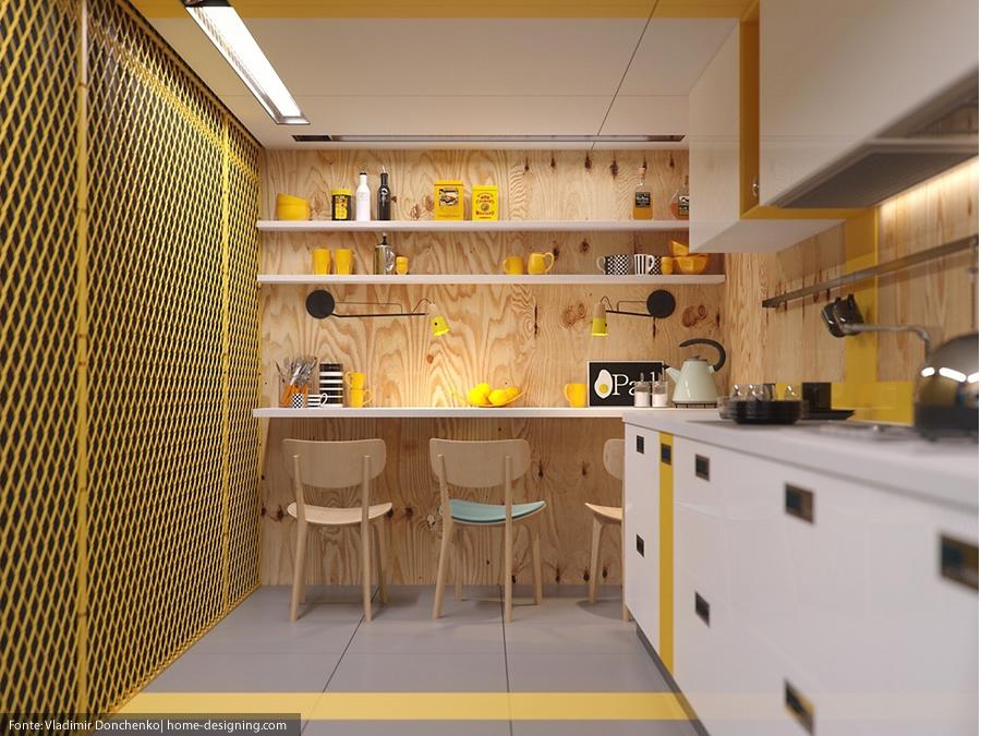 Decoração de cozinha industrial amarela